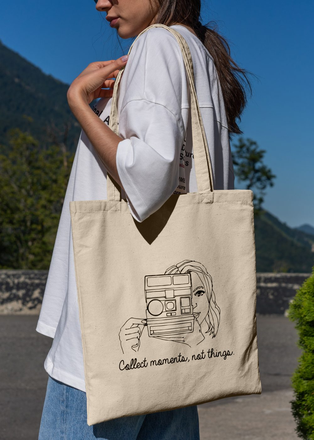 Tote bag - Collect moments not things - female photographer